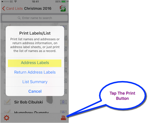 Printing Address Labels popup selection