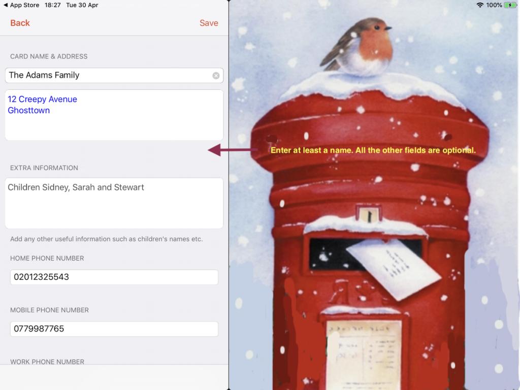 Adding name and address manually screenshot