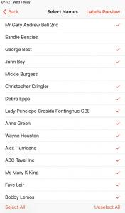 Select names to print table