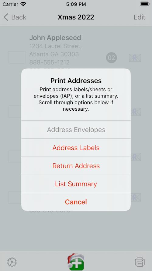 Print labels/envelopes popup.